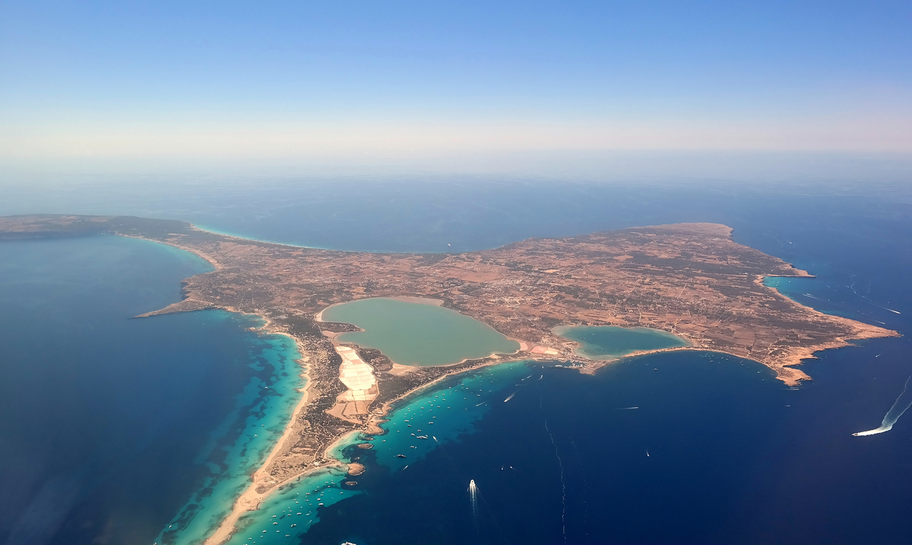 Aerial view of Formentera. Island near Ibiza.