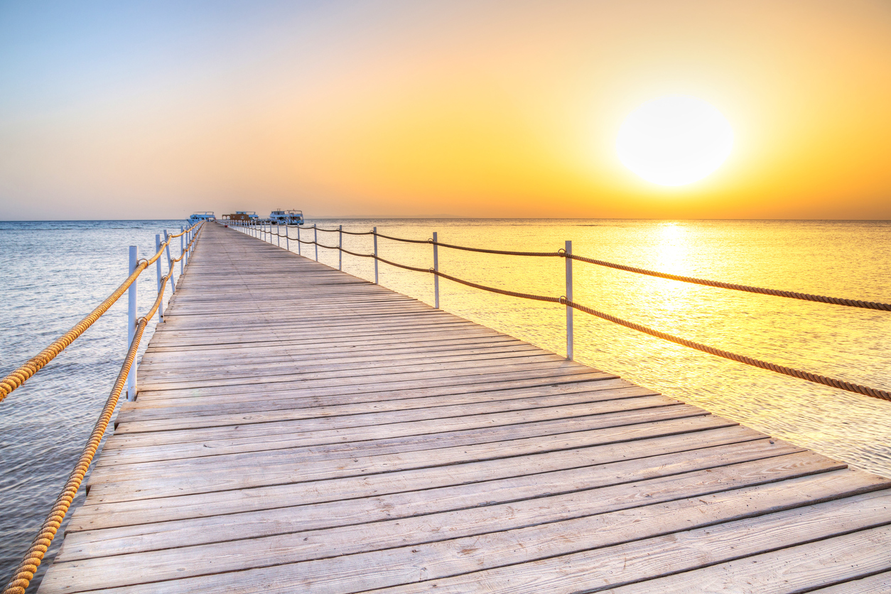 Pier on Red Sea in Hurghada at sunrise, Egypt