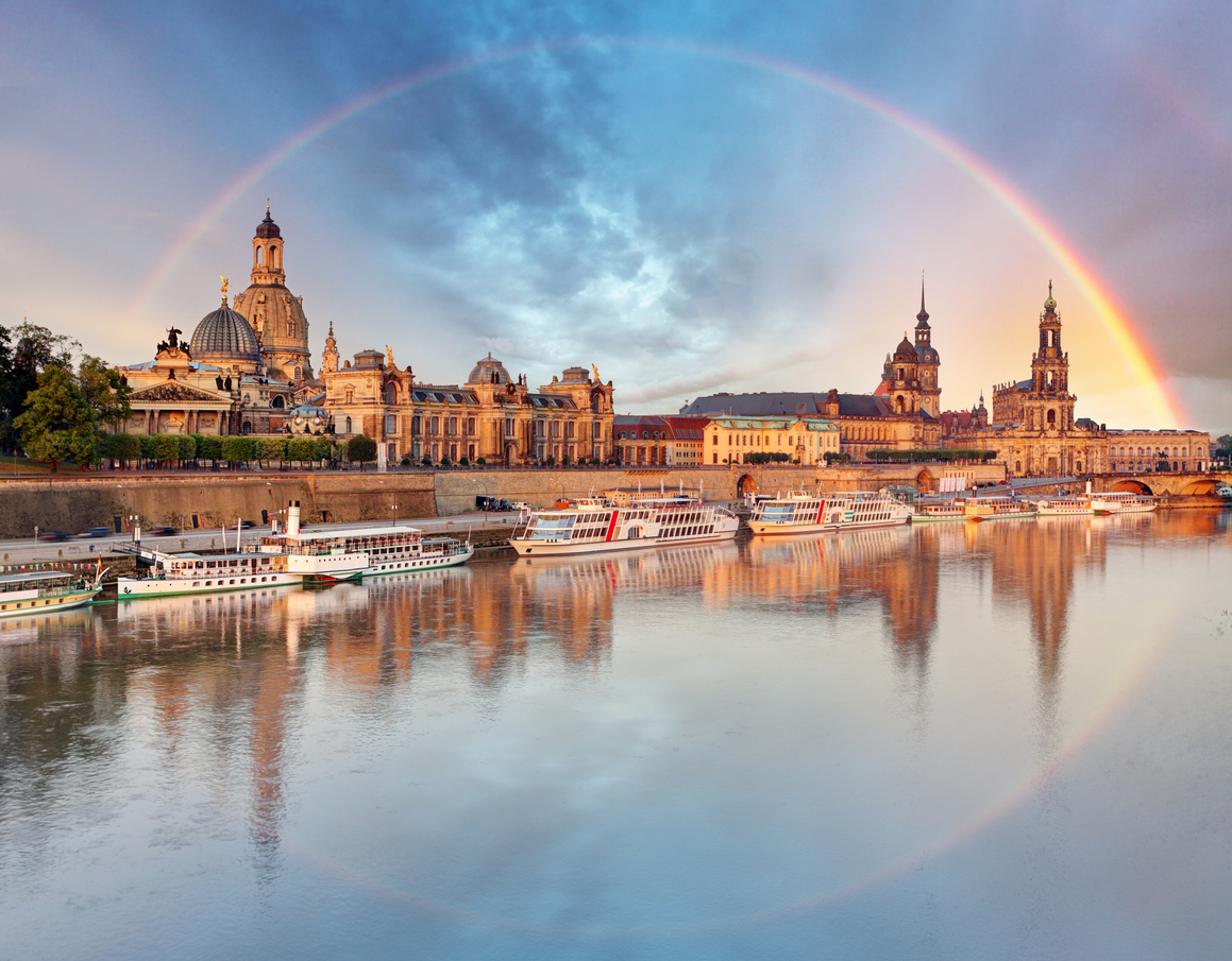 Dresden, Germany old town skyline with rainbow