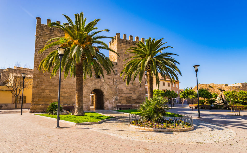 Front of Porta de Xara Gate, Porta del Moll in Alcudia historic city center, Mallorca Spain