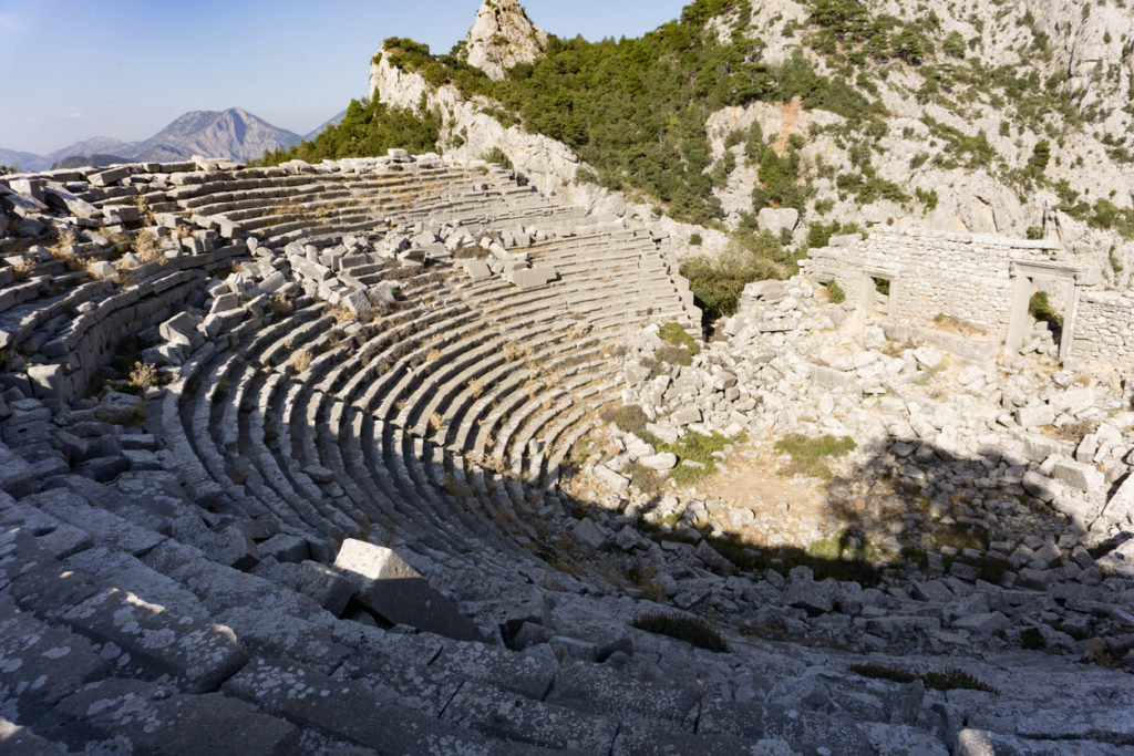 Ruins of the Hellenistic Roman theater under the mist. Termessos Turkey