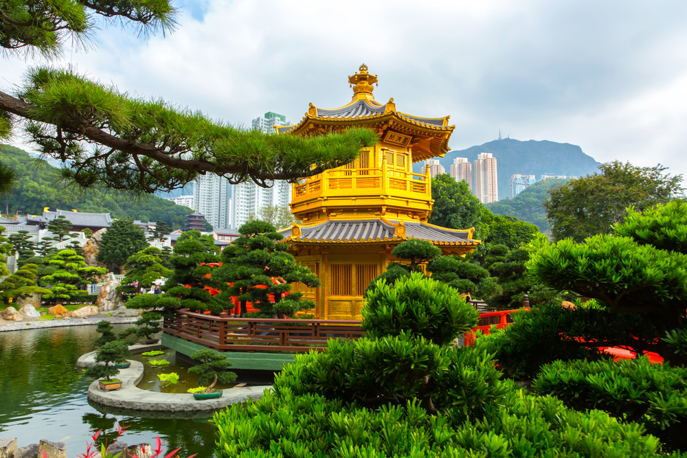 Traditioneller Pavillon in einem Park in Hongkong