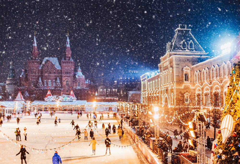 roter platz in moskau im winter