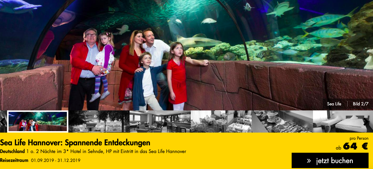 Sea Life mit Hotel in Berlin oder Hannover