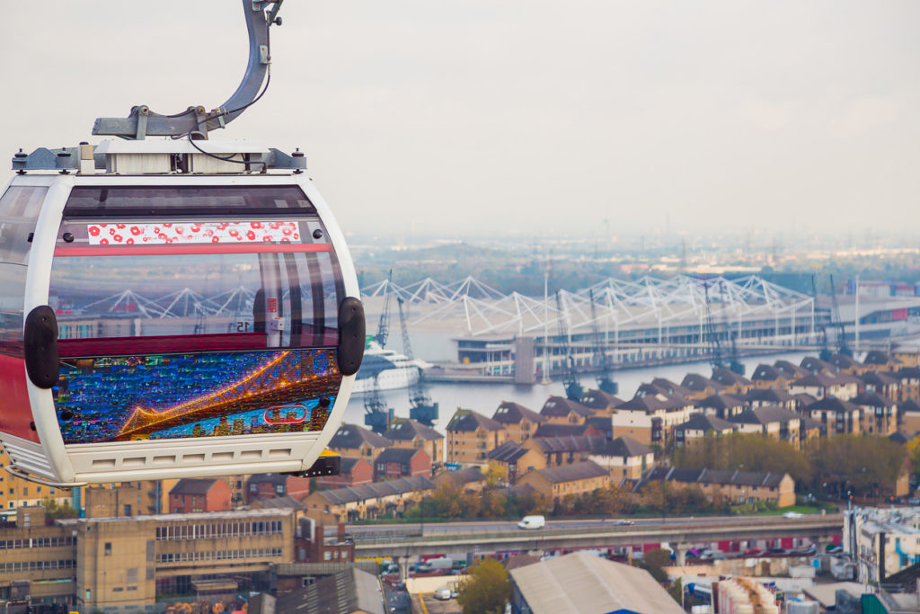 Die Emirates Air Line -Seilbahn in London