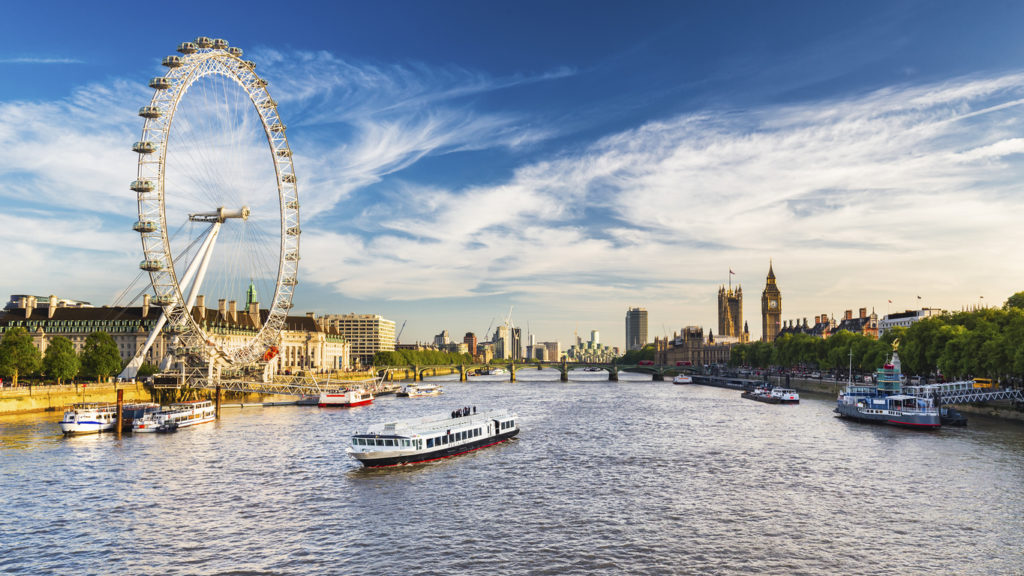 Das London Eye an der Themse