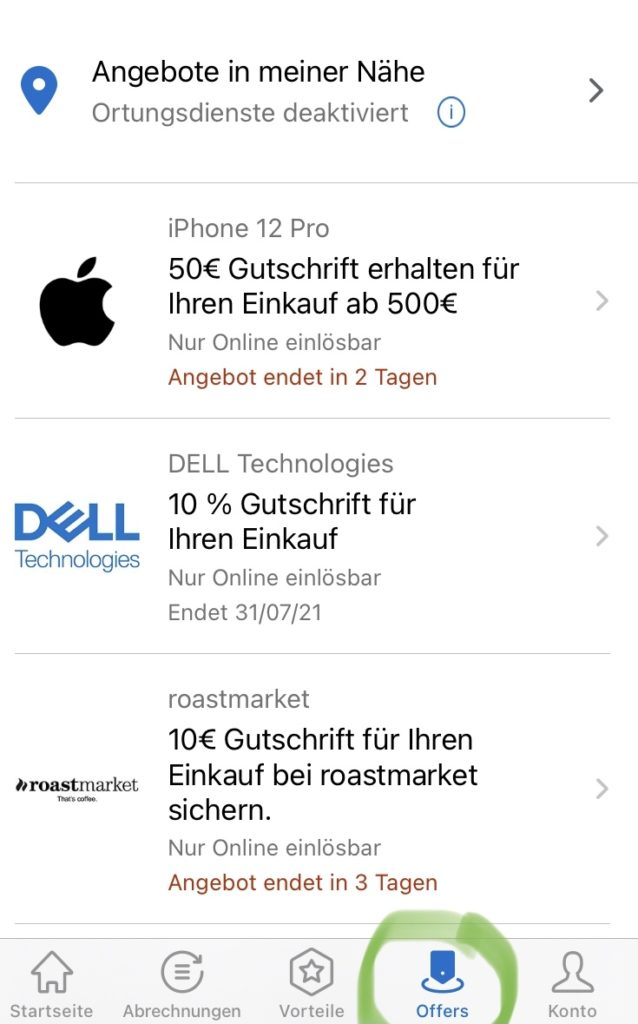 amex offers mobile ansicht